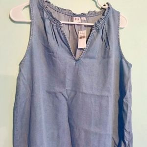 Chambray Ruffle Tank top